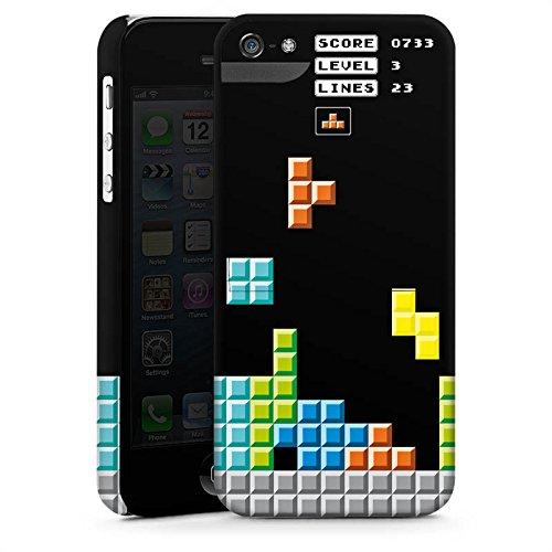 Apple iPhone 5s Housse étui coque protection Jeu Tetris 8 bit couleurs CasStandup blanc