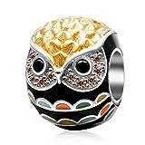 Argent sterling 925Hibou Bird charmes Animal Charm anniversaire Charm porte-bonheur pour bracelet à breloques Pandora