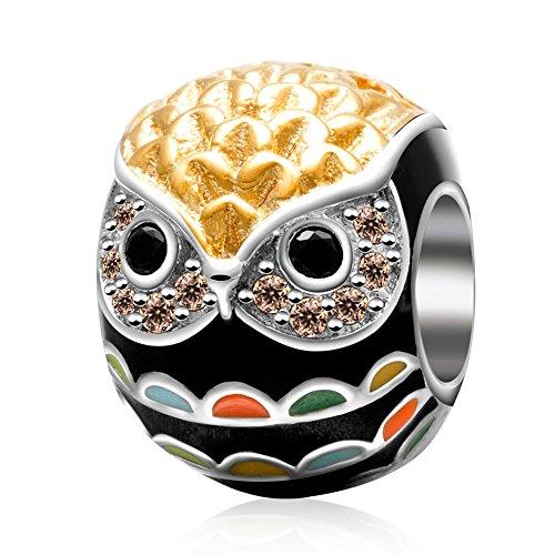 Andante-Stones 925 Sterling Silber Gold Bead Charm * Bunte Eule * Element Kugel für European Beads Modul Armband + Organzasäckchen (Beads Gold Charm)