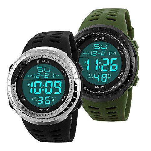 Sunjas 50 Meter wasserdicht Armbanduhr Sportuhr Stoppuhr Digital LED Wecker Casual Militär Quarzuhr Alarm Watches Multifunktions-Analog für Herren Damen Jungen Mädchen Kinder