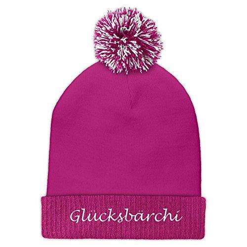 Pudelmütze mit Namen Glücksbärchi bestickt - Farbe Rosa -