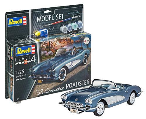 Revell 67037 1958 12 Modellbausatz 58 Corvette Roadster im Maßstab 1:25