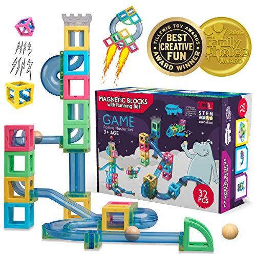 Hippococo Jeu Blocs de Construction Magnétique 3D avec Circuit de Billes: Nouveau, Innovant, Exceptionnel Jouet éducatif STIM, Set Durable, résistant, sûr, favorise créativité et Imagination (32 PCS)