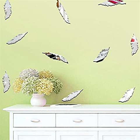 Yanqiao 18PCS Cartoon Mirror Feathers Wall Stickers Removable Acrylic Living Room Home Wall