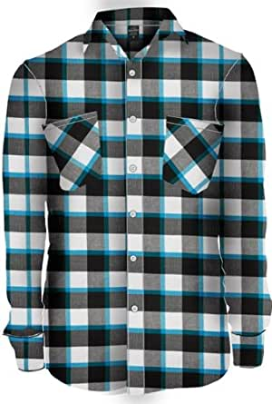 TB411 'Urban Classics' Tricolor Checked Light Flanell Shirt (Various Colours), Größe:XXL;Farbe:blk/wht/tur