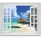 livingdecoration Carta da Parati Foto 'Tropical Window 2T3' 183 x 127 cm Oceano Mare Spiaggia Tropici Prospettiva Finestra - fotomurali - Poster Gigante - inclusivo Pasta Polvere di Colla Nuova