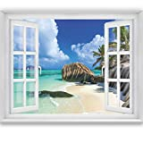 livingdecoration FOTOTAPETE,Tropical Window 2T3' 183 x 127 cm Fenster Ausblick Meer Strand Dünen Ozean Tapete inklusiv Kleister