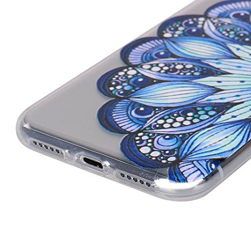 iPhone X Schutzhülle, Rosa Schleife iPhone 10 Ultra Dünn Transparent TPU Backcover Weiche Silikon Cases Cover Crystal Clear Hülle Kratzfest Handyhülle Schale Bumper für iPhone X / 10 Donuts Half Blau Blume