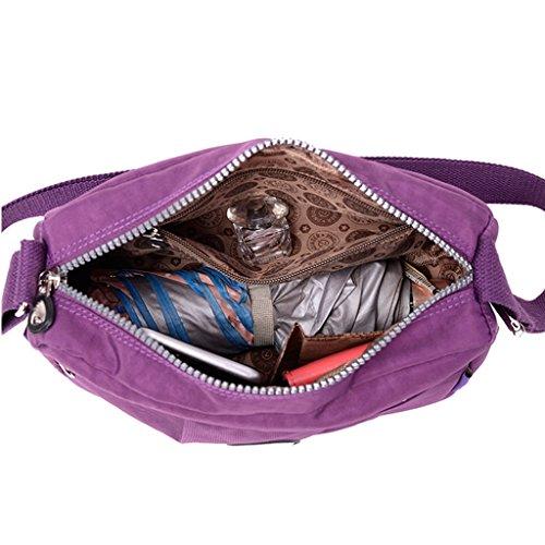 TianHengYi Small Water Resistant Women's Cross-body Shoulder Bag Lightweight Nylon Fabric Messenger Bag Purple