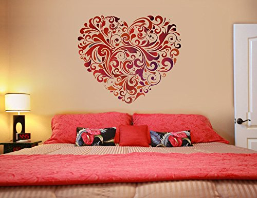Decals Design 'Heart Floral' Wall Sticker (PVC Vinyl, 60 cm x 60 cm)