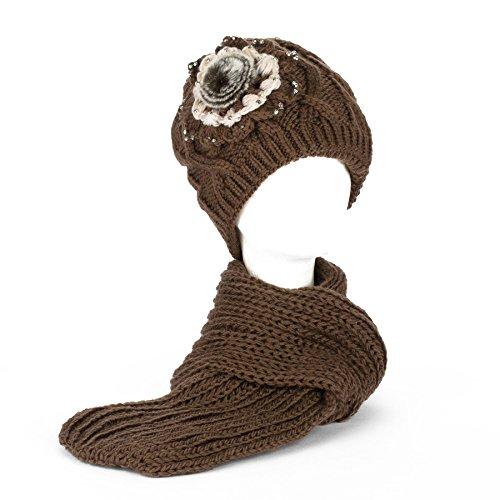 Filles Bonnet chapeau avec doublure polaire et écharpe à tricot épais set Hiver chaud Marron foncé