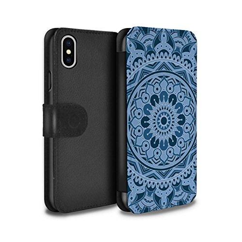 Stuff4 Coque/Etui/Housse Cuir PU Case/Cover pour Apple iPhone X/10 / Floral/Sépia Design / Art Mandala Collection Rêve/Bleu