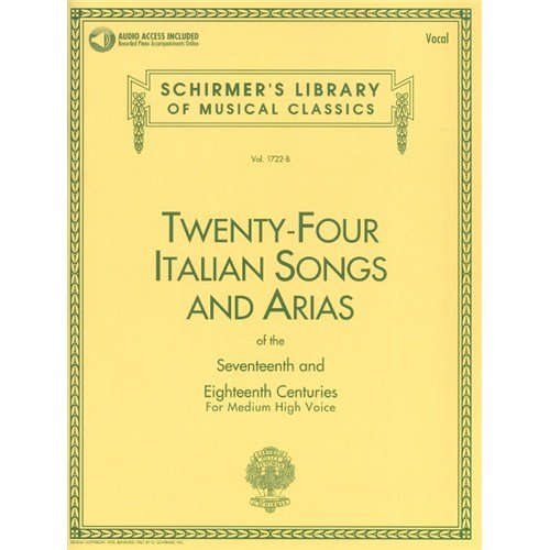Twenty-Four Italian Songs And Arias Of The 17th And 18th Centuries - Medium High Voice (Book/CD). Partitions, Downloads pour Voix Moyenne, Voix Haute, Accompagnement Piano