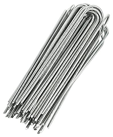 GardenMate 100x 8''/200mm 3.8mm thick wiere U-shaped Garden Securing Pegs GALVANIZED - Ideal for securing weed fabric, landscape fabric, netting, ground sheets and