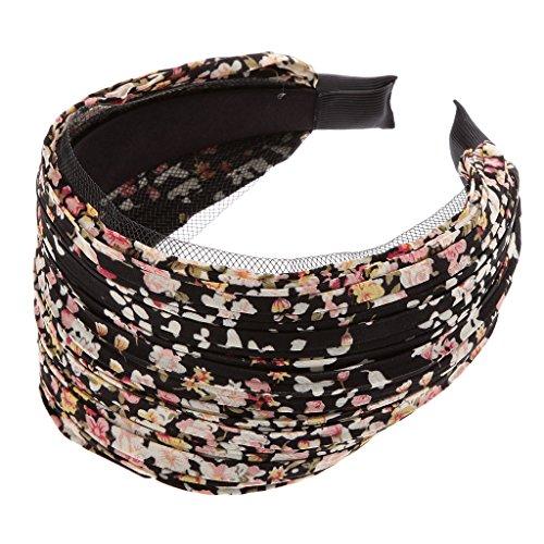 Bandeau Large Serre-tête Accessoire pour Cheveux Plissé Floral Rétro