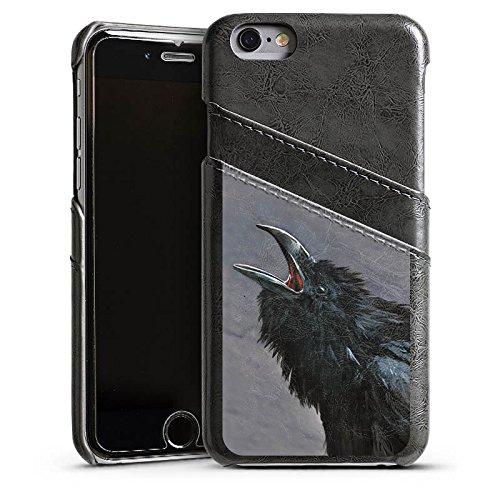 Apple iPhone 5s Housse Étui Protection Coque Oiseau Corbeaux Étui en cuir gris