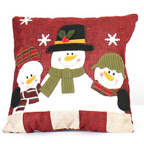 Kissen Damen, DoraMe Frauen Weihnachtsschmuck Weihnachtsmann Schneemann Familie Weihnachten Kissen (32*32cm, D)