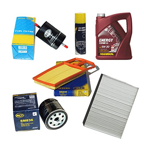 Preisvergleich Produktbild Inspektionspaket Pollenfilter VW Golf 4 1.4 16V & 1.6 16V (55/77kW) Luftfilter Ölfilter Kraftstofffilter + 5 Liter Mannol Motoröl Energy Combi LL + Geschenk