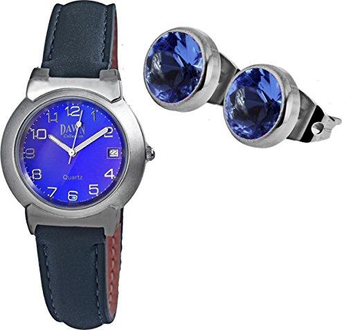 Portogarda Moden Damen Uhr Echtleder im Geschenk Set mit kleine funkelnde Ohrstecker mit Swarovski Steine in blau -