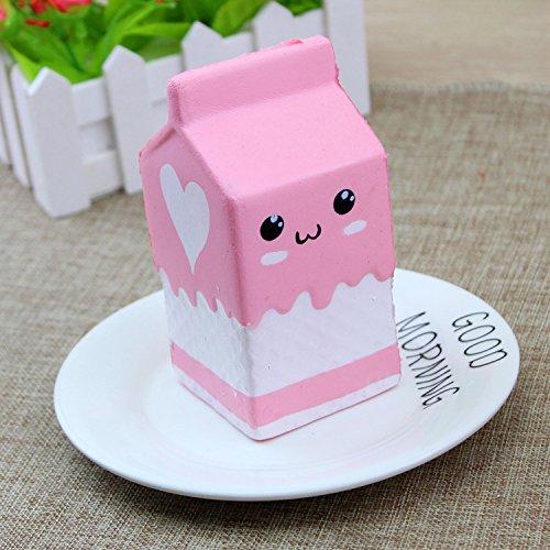 Naisicatar Soft Toy Langsam Rising Jumbo Spielzeug Squeeze Spielzeug Stress Relief Spielzeug Milch-Kasten Rosa für Kinder Erwachsene Gute Wahl