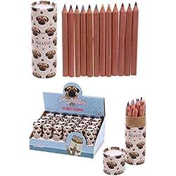 Confezione con 12 matite pastelli colorati design Cane Cagnolino Carlino