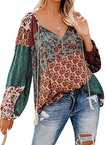 FIYOTE Damen Bluse Tunika Oberteile T-Shirt V-Ausschnitt Tops Hemd Langarm Shirt Bunt M