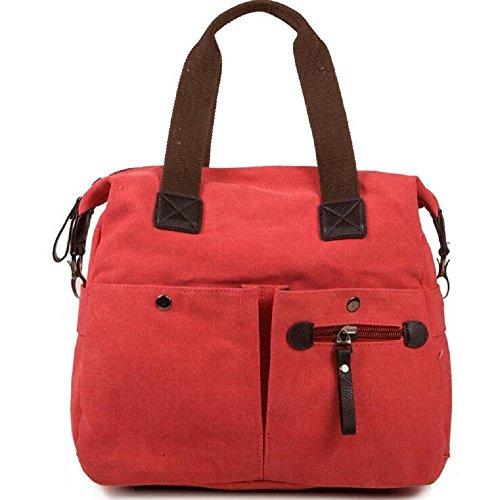 Bdawin Damen Canvas Reise Täglich Schultertasche Handtasche Taschen 55-de Blue Rot