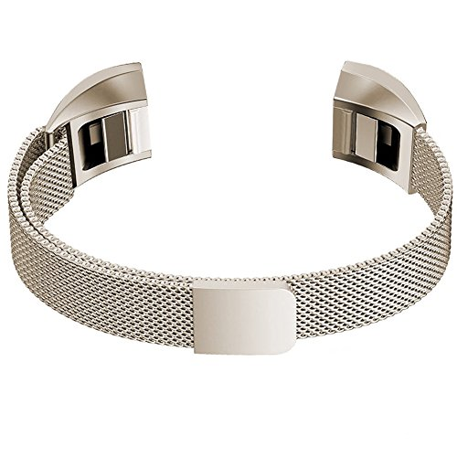 Fur Fitbit Alta Watch Strap Fitbit Alta Hr Armband, PUGO TOP Milanaise Edelstahl Armbanduhren Watch Band Armband Fur Fitbit Alta (Klein,Royal Gold)