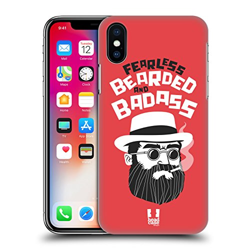 Head Case Designs Go Beard Bearded Bravado Cover Retro Rigida per Apple iPhone X Fearless