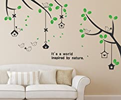 Solimo Wall Sticker for Living Room (Branches & Bird Houses,  ideal size on wall: 160 cm x 70 cm)