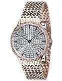 Yves Camani - Reloj de pulsera de mujer Garonne con caja de acero inoxidable de oro rosa y esfera con 150circonitas. Elegante reloj de mujer de cuarzo con pulsera de acero inoxidable de oro rosa