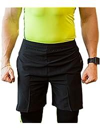 UrChoiceLtd ® QX Men ' s Professional Rápido Dry Shorts De Compresión Elite Gimnasia Térmica Running Sudor Running Shorts Hombres-artículos Deportivos Running Gear Deportes Ropa Salud Fitness CrossFit Ropa (M, Negro)