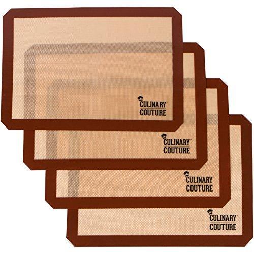 Juego de alfombrillas de silicona para hornear (4) Hoja de galletas antiadherentes...