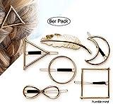 6er Set hochwertige minimalistische Haarspangen von Humble Mind, Haarschmuck - Kreis, Dreieck, Quadrat, Mond, Unendlichkeit und Feder in goldener Farbe