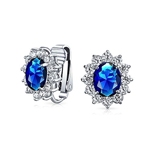 Royal Blue Oval Shape CZ Halo Stud Statement Clip On Earrings Simulated Sapphire Cubic Zirconia Silver Plated Brass