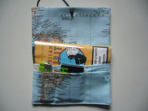 Büroteuse Tabaktasche / Drehertasche im braunem antikem Weltkarten Design, jede Tasche ein Unikat! Landkarte