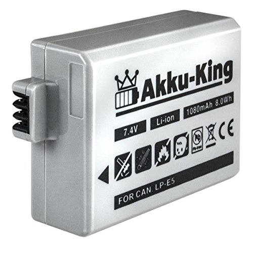 Akku-King Akku kompatibel zu Canon EOS 450D, 500D, 1000D, Rebel Kiss X2, Rebel XS, Rebel T1i - ersetzt LP-E5 Li-Ion 1080mAh Eos Rebel T1i Kit
