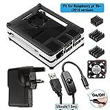 Smraza für Raspberry Pi 3Modus B + Fall mit Lüfter, Kühlkörper, 2,5A Netzteil, Micro USB W/ON OFF Schalter (schwarz und weiß)