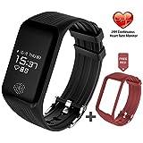 Fitness Tracker Herzfrequenz, FUNBOT IP67 Wasserdicht Smart Armband mit Pulsmesser, Schrittzähler, Schlafüberwachung, Kalorienzähler, Aktivitätstracker Anruf/ SMS/ SNS für Android und iOS Handys (Schwarz + Rot)