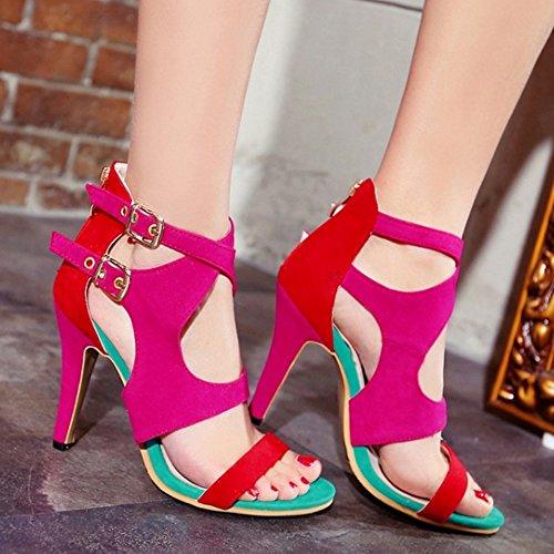 TAOFFEN Damen Western Fashion High Heel Buckle Strap Reißverschluss Sandalen Rot