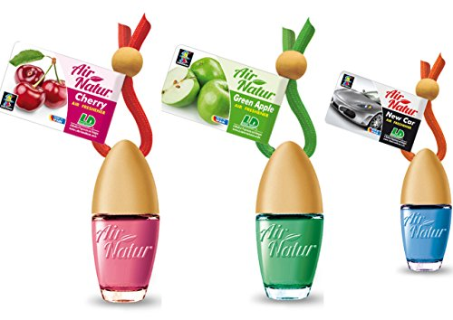 3 Stylisch-modische Air Natur Little Bottle Duftflakons Lufterfrischer Auto- und Raumduft 6ml - 1x Apple - Apfel, 1 x Cherry - Kirsche, 1 x New Car