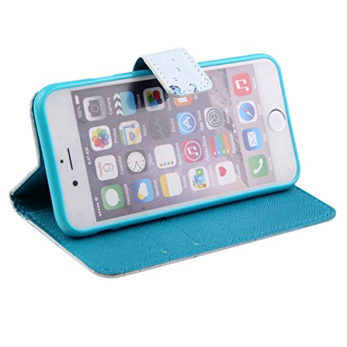 iPhone 6S/6 Hülle, ISAKEN iPhone 6S Hülle Muster, Handy Case Cover Tasche for iPhone 6S/6, Bunte Retro Muster Druck Flip PU Leder Tasche Case Hülle im Bookstyle mit Standfunktion Kartenfächer mit Weic Blau Eiswürfel