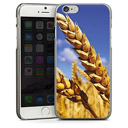 Apple iPhone 4 Housse Étui Silicone Coque Protection Paysage Champ de blé Épi CasDur anthracite clair