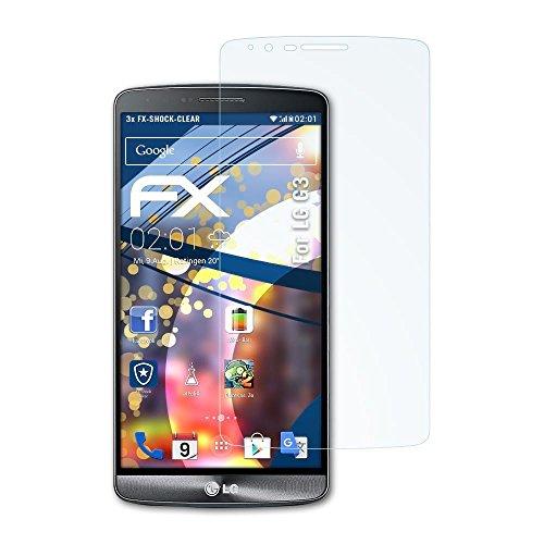 atFolix Schutzfolie kompatibel mit LG G3 Panzerfolie, ultraklare und stoßdämpfende FX Folie (3X) (Wasser Lg Fall G3)