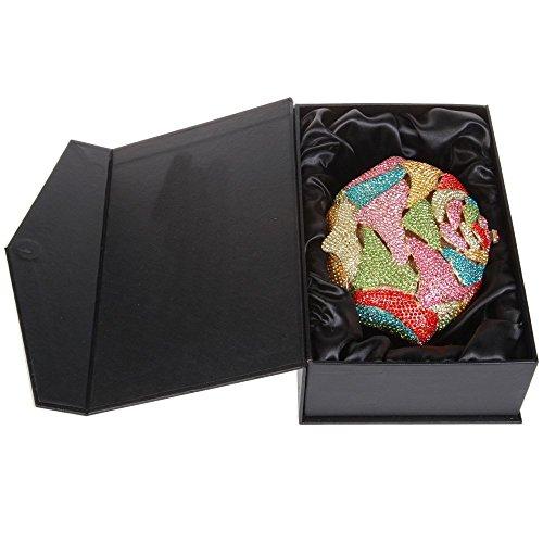 Damen Clutch Abendtasche Handtasche Geldbörse Schick Strass Kristall Blume Oval Tasche mit wechselbare Trageketten von Santimon(5 Kolorit) Mehrfarbig
