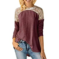 iHENGH Womens Round Neck Lace Long Sleeve Bowknot Blouse Tops T-Shirt