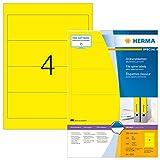 Herma 4296 Farbige Ordnerrücken Etiketten gelb, blickdicht, breit/kurz (192 x 61 mm) 400 Ordneretiketten, 100 Blatt DIN A4 Papier matt, bedruckbar, selbstklebend