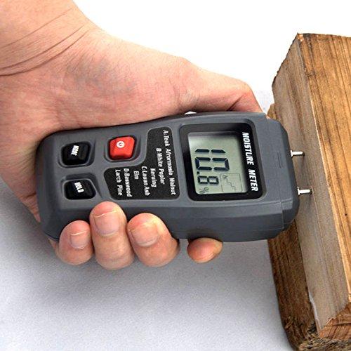 Espeedy 0-99.9{d603e8f6b7e10dff11c7f093b8c2f50558b7a8238c1e1e30b57d0688d71bc18e} Digital Holz Feuchtigkeitsmesser Feuchtigkeitstester Holz Damp Detector Hygrometer 2Pins Test