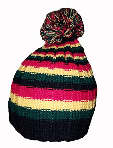 Cool New Bob Marley Rasta Farbe Stripe Beanie Pom ()