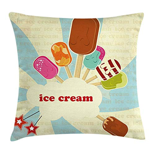 Ice Cream Throw Pillow Cushion Cover, Vintage Set with Different Flavors on Retro Backdrop Colorful Popsicles and Stars, Decorative Square Accent Pillow Case, 18 X 18 inches, Multicolor